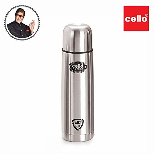 Cello Flip Style Stainless Steel, 1 Litre, Silver