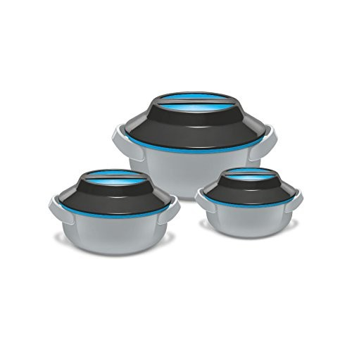 Milton Microwow Insulated Casserole Gift, Set of 3, Grey