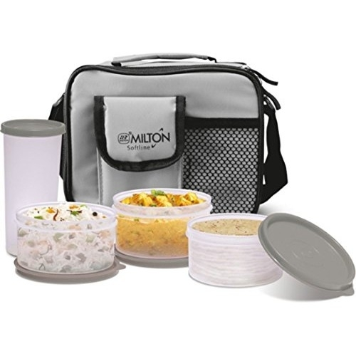 Milton Grey Plastic Lunch Box (3Pieces With Water Glass)