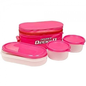 Milton Purple Plastic Double Decker 3 Containers Lunch Box