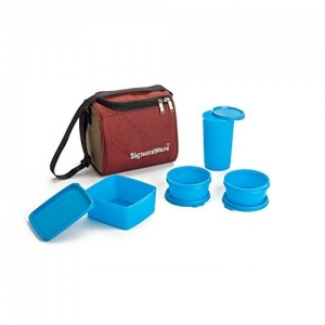 Signoraware blue Plastic Best Lunch Box with Bag