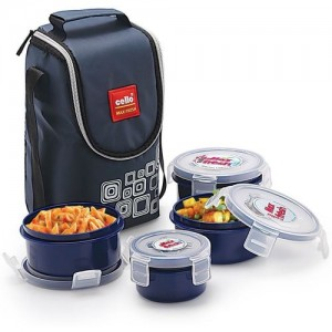 Cello Navy Blue Plastic Max Fresh Click 4 Containers Lunch Box(500 ml)