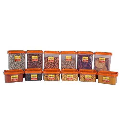 Laplast Storewell Series Plastic Containers, Orange (Set Of 12)