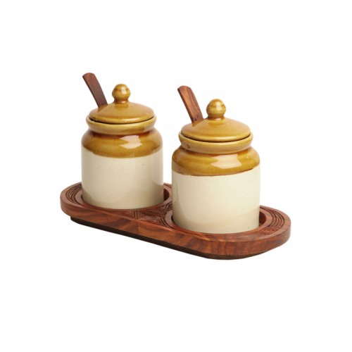 ExclusiveLane Set Of 2 Beige Handcrafted Ceramic Jars with Tray