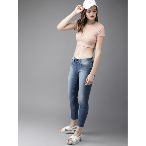 HERE&NOW Women Blue Skinny Fit Mid-Rise Clean Look Stretchable Cropped Jeans