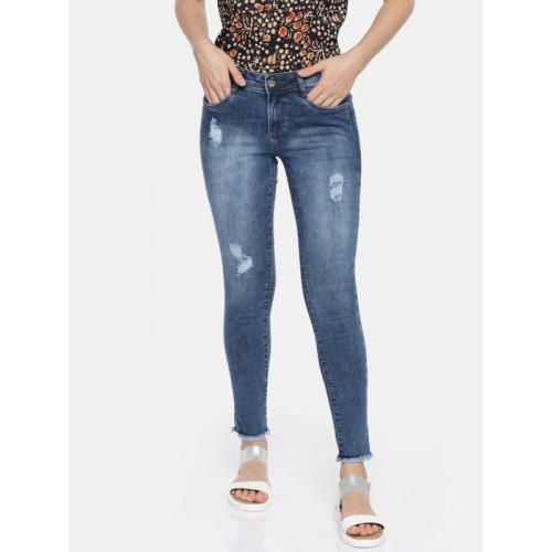 Kraus Jeans Women Blue Skinny Fit Mid-Rise Low Distress Stretchable Jeans