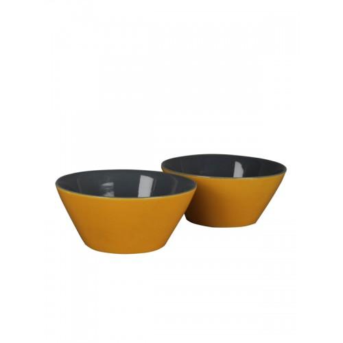 MIAH Decor Yellow Set of 2 Ceramic Serving Bowls