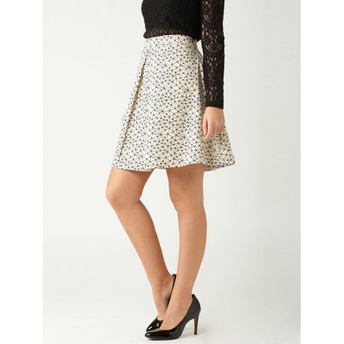 Buy DressBerry Beige Printed A-Line Skirt online | Looksgud.in