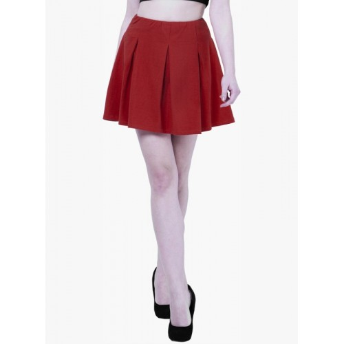 FabAlley Solid Pleated Red Skirt