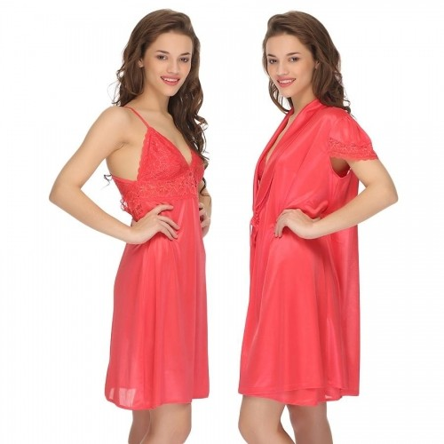 5c26497efe Clovia Peach Satin Nightwear  Clovia Peach Satin Nightwear ...