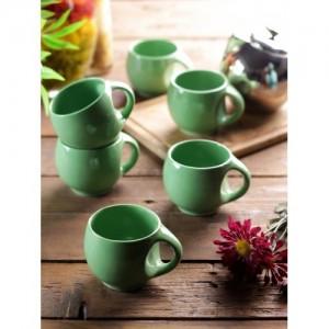 VarEesha Green 6-Pieces Solid Ceramic Cups Set
