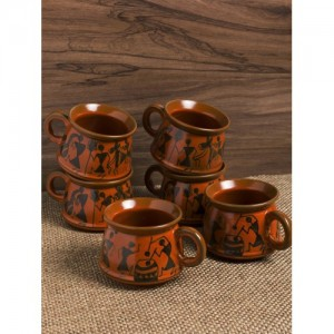 ExclusiveLane Brown 6-Pieces Printed Ceramic Cups Set