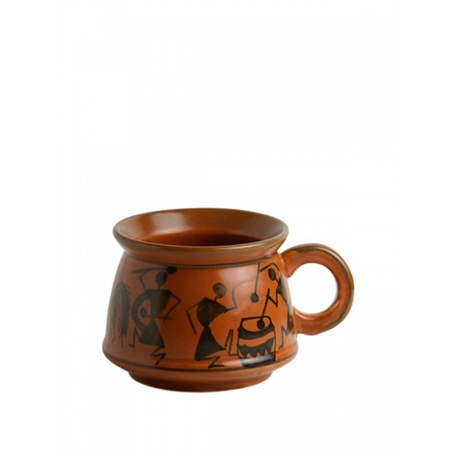 ExclusiveLane Brown 6-Pieces Printed Ceramic Cups Set