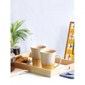 VarEesha Mustard & Off-White 2-Pieces Textured Ceramic Cups Set