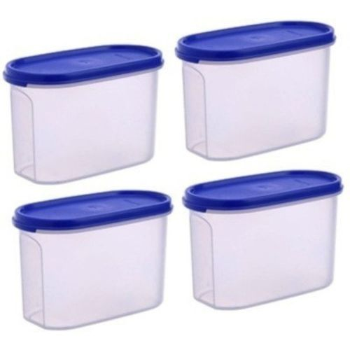 Tupperware Blue Plastic Modular Mates 1.1 Ltrs - 1100 ml Grocery Container(Pack of 4)