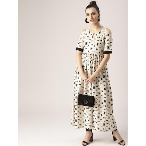ec25dabba19 Buy Libas Off-White   Black Cotton Printed Cold-Shoulder Maxi Dress ...