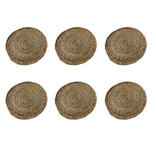 The Home Talk Set of 6 Braided Jute placemats, 35 cm Round, 6 Piece Set, Best for Bed-Side Table/Center Table, Dining Table/Shelves- Natural Beige