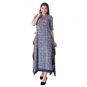 Khushal K Blue Cotton Printed Princess Cut Kurta