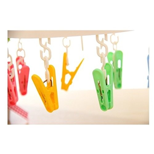 Home Cube® Oval Shape Revolving Portable Traveling Hanging Cloth Drying Hanger - 8 Cloth Clips (Random Color)
