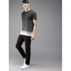 HERE&NOW Men Grey Cotton Dyed Round Neck T-shirt