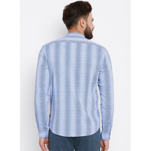 Blackberrys Blue Checked Slim Fit Casual Shirt
