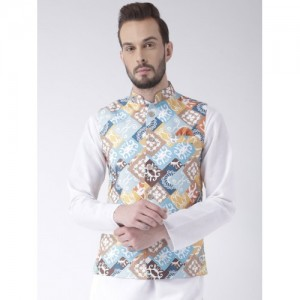 Hangup Men Multicoloured Abstract Print Nehru Jacket