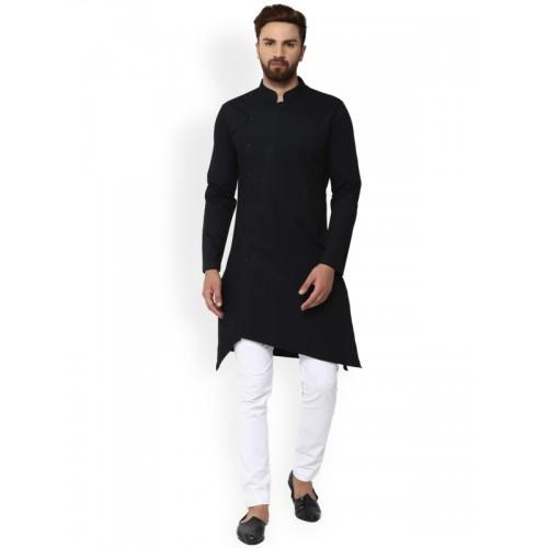 See Designs Men Black Solid Straight Kurta