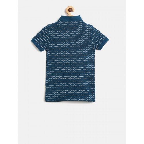 Flying Machine Boys Blue Printed Polo Collar T-shirt
