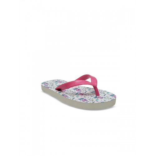 DChica Girls White & Pink Printed Thong Flip-Flops