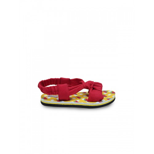 DChica Girls Red & Yellow Open-Toed Flats