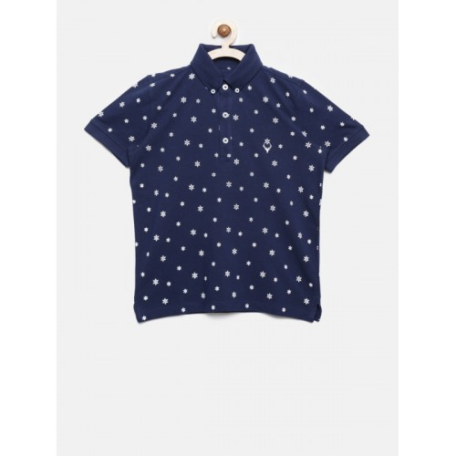 Allen Solly Junior Boys Navy Blue Printed Polo T-shirt