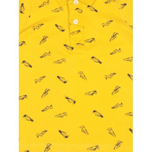 Allen Solly Junior Boys Yellow Printed Polo Collar T-shirt