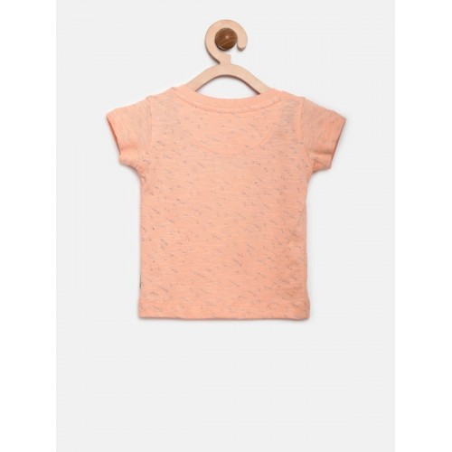 Gini and Jony Boys Peach-Coloured Printed Henley Neck T-shirt
