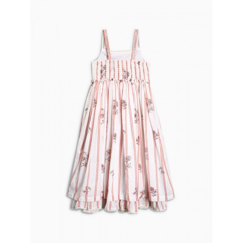 next Girls White Striped Fit and Flare Dress