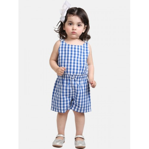 Beebay Girls Blue Cotton Checked Basic Jumpsuit