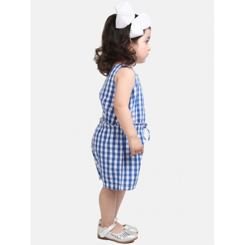Beebay Girls Blue Checked Basic Jumpsuit