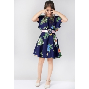 Naughty Ninos  Navy Blue Cotton Floral Printed Cold Shoulder Dress
