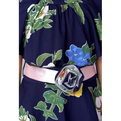 Naughty Ninos  Navy Blue Cotton Floral Printed Cold Shoulder Dress
