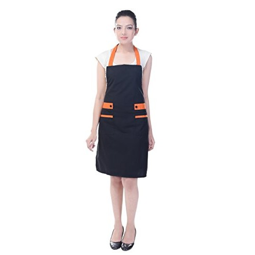 Switchon Korean Style New Black Waterproof Kitchen Apron with Front Pocket