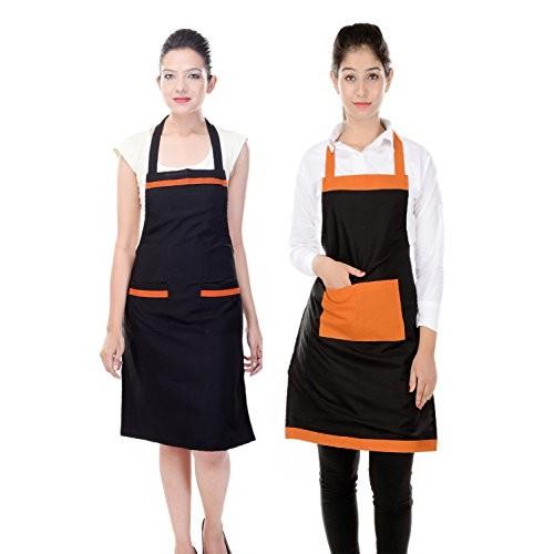 Branded Waterproof Black Kitchen Apron for Women Pack of 2