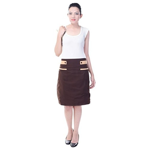 Switchon Korean New Style Chocolate Brown Waterproof Kitchen Apron with 2 Pocket