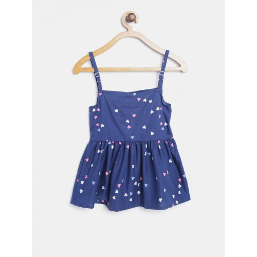 Kids On Board Girls Navy Blue Heart Print Fit and Flare Dress