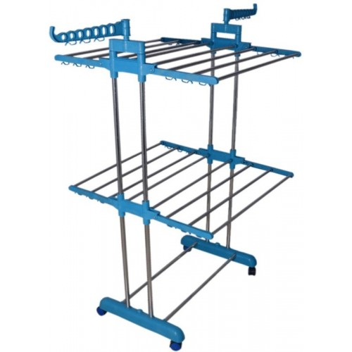 SUNDEX Stainless Steel Floor Cloth Dryer Stand(Blue)