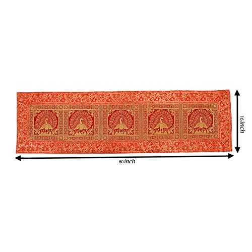 Osian Krafts Red Brocade & Polyester Satin Ethnic Table Runner for Dining Table 60x16 inches, Single Pc