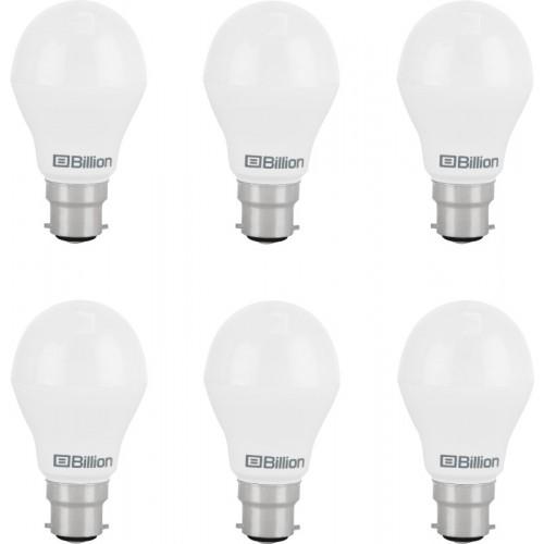 Billion 9 W Round B22 LED Bulb(White, Pack of 6)