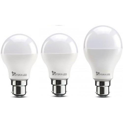Syska 7 W, 9 W, 12 W Standard B22 LED Bulb(White, Pack of 3)