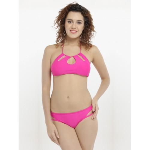 N-Gal Pink Solid Bikini Set NNG41384
