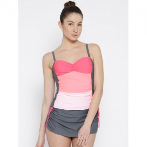 VOXATI Women Pink & Grey Colourblocked Swim Suit bik335