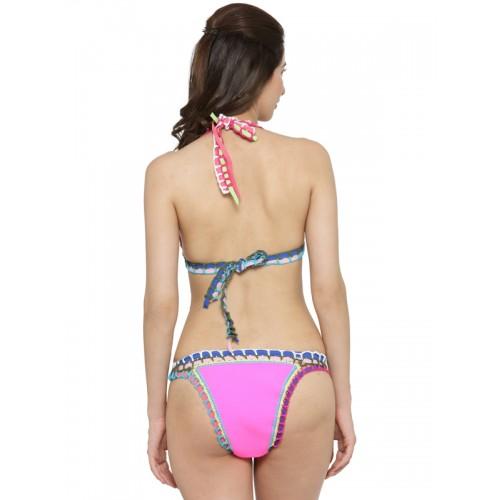 N-Gal Pink Crochet Neoprene Latex Bikini Set NG41733