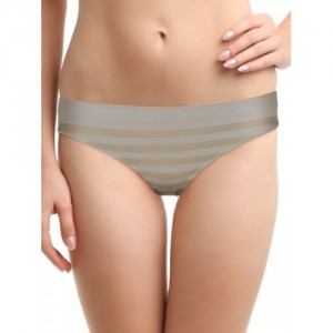 Amante Women Grey Striped Briefs PCSL02